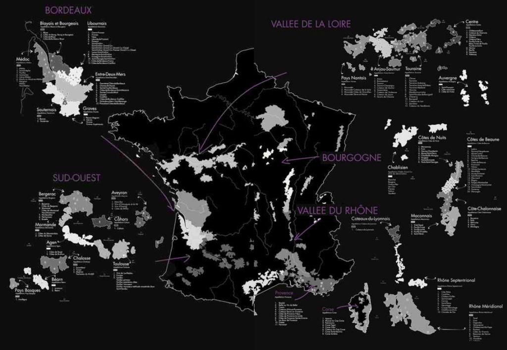 La France compte de nombreuses régions viticoles : le bordelais, la vallée de la Loire, la Bourgogne, la Vallée du Rhône ....