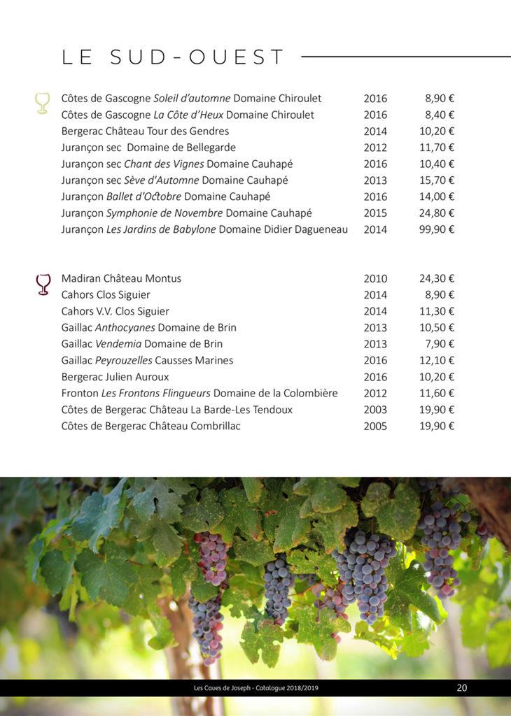 Sélection des vins du Sud ouest des Caves de Joseph : Jurançon, Cahors, Côtes de Bergerac...