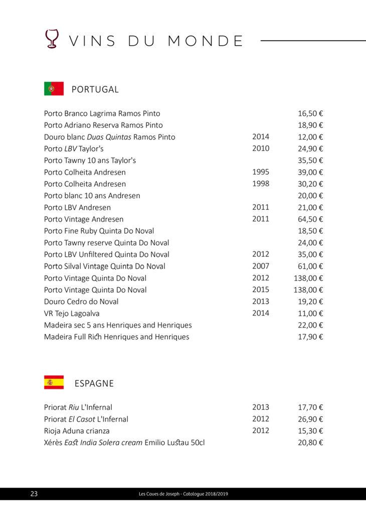 Sélections des vins du Portugal et d'Espagne des Caves de Joseph