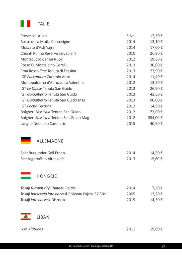 Sélection des vins d'Italie, Allemagne, Hongrie, Liban des caves de joseph à Rennes